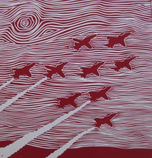 Red Arrows Linocut