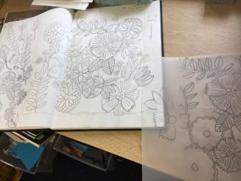 blue flower textile process