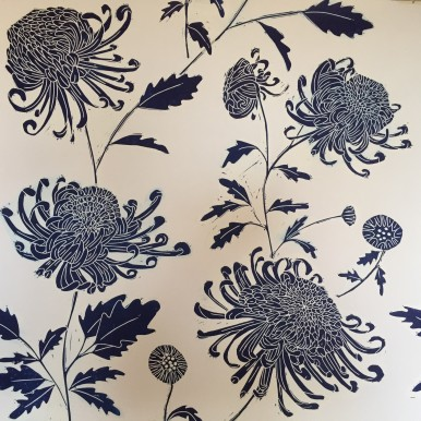 Chrysanthemum textile blue
