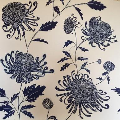 Chrysanthemum textile blue
