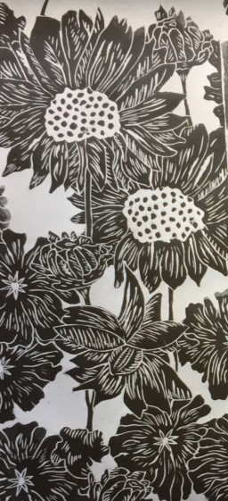 Sunflowers textile 1