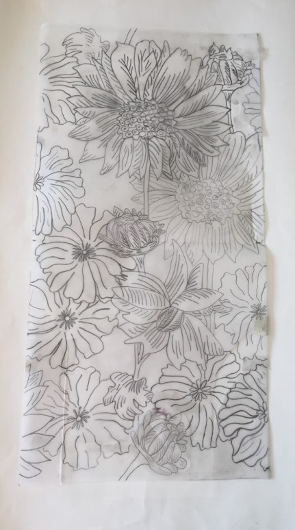 Textile flower drawing