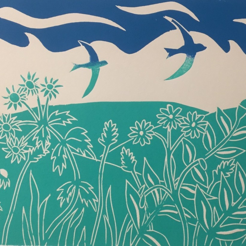 linocut birds and south downs