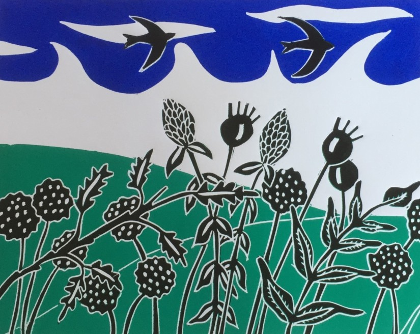 Over the Hills Sue Collins Reduction Linocut