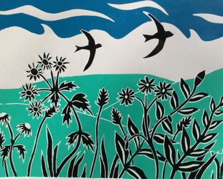 Through the Hedgerow Sue Collins Reduction Linocut