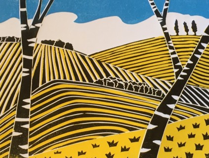 Through the Trees Sue Collins Reduction Linocut