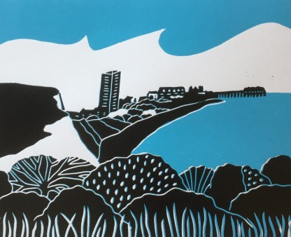 Towards Eastbourne Sue Collins Reduction Linocut