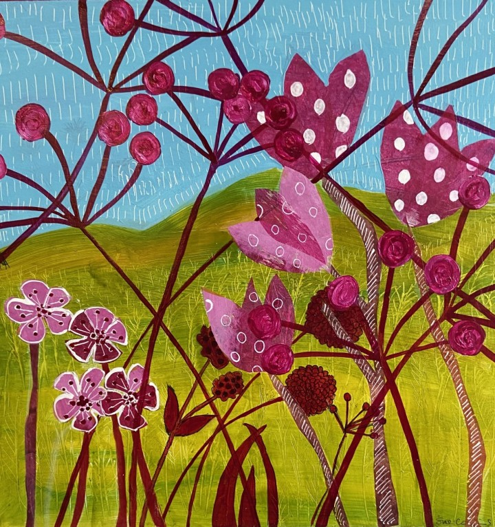 A Warm Breeze Collage and Paint on Wood Sue Collins