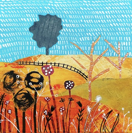 The Golden Downs - Collage and Paint - Sue Collins