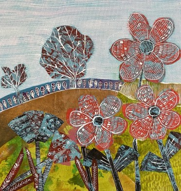A Fresh Breeze - Sue Collins - Mixed Media 30 x 30 cm
