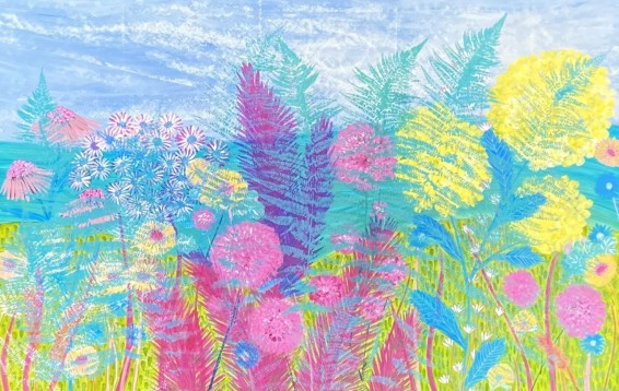 A Summer Day - Sue Collins - Mixed Media 100 cm x 150 cm