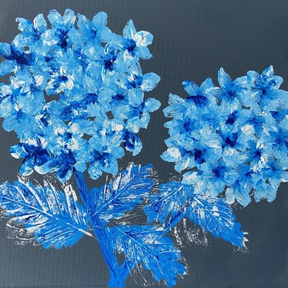 Blue Passion - mixed media - Sue Collins - 30 x 30 cm