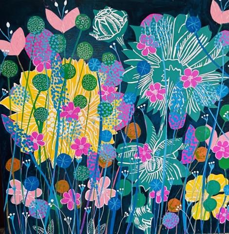Dusk - Sue Collins - Mixed Media 50 x 50 cm