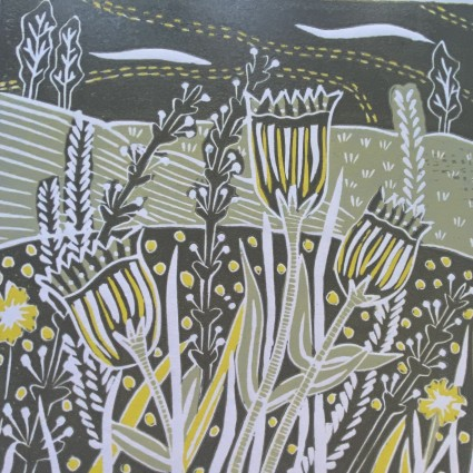 Woodland Flowers - lino redution - Sue Collins