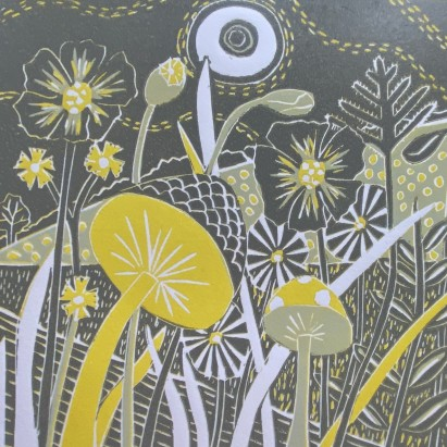 Woodland Toadstools - Linocut reduction - Sue Collins