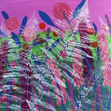 Exuberant Ferns - Sue Collins Mixed Media 50 x 50 cm