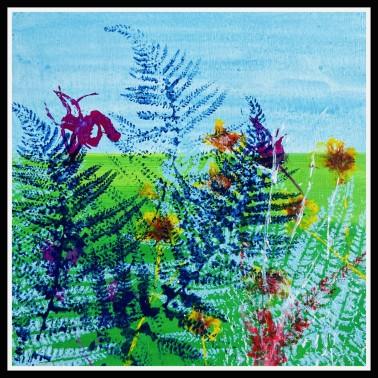 Fern Freedom - Sue Collins Art Mixed Media 30 x 30 cm
