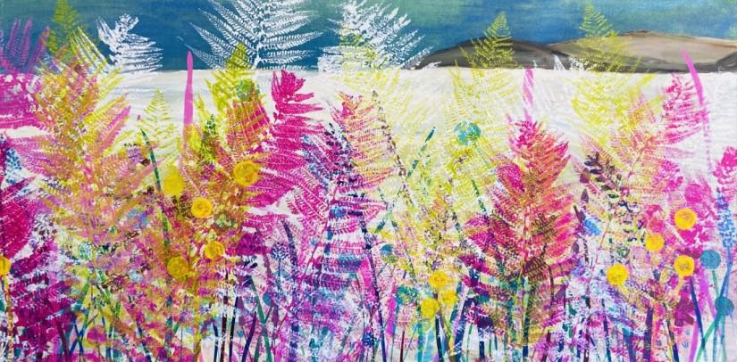 Towards the Coast - 122 x 61 cm stretched canvas mixed media