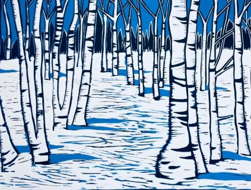 Winter Woodland Reduction Linocut Sue Collins